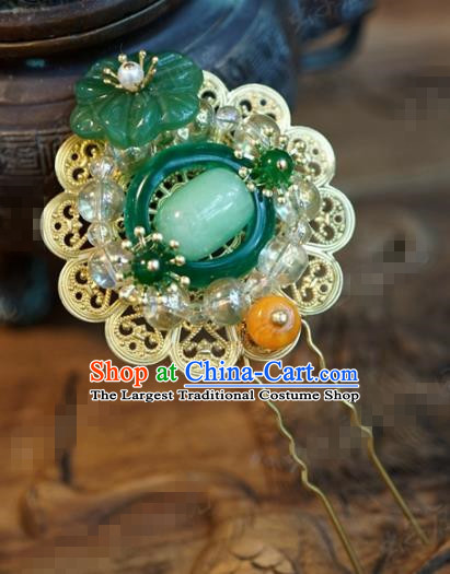 Chinese Ancient Wedding Hair Accessories Palace Queen Jade Hairpins for Women