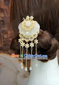 Chinese Ancient Bride Hair Accessories Wedding Tassel Step Shake Jade Hairpins for Women