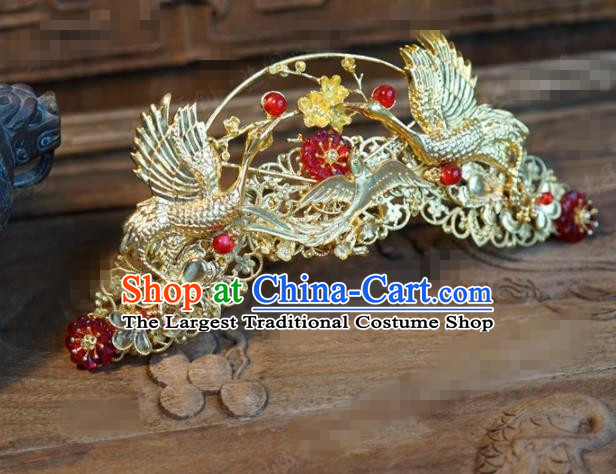 Chinese Ancient Wedding Queen Hair Jewelry Accessories Palace Crane Hair Crown Hairpins for Women