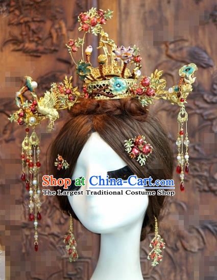 Chinese Ancient Hair Accessories Wedding Bride Crane Hair Clips Hairpins Complete Set for Women