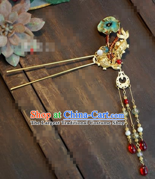 Chinese Ancient Hair Accessories Wedding Bride Crane Hair Clips Lotus Leaf Hairpins for Women