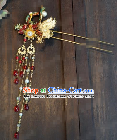 Chinese Ancient Hair Accessories Wedding Bride Crane Tassel Hair Clips Hairpins for Women