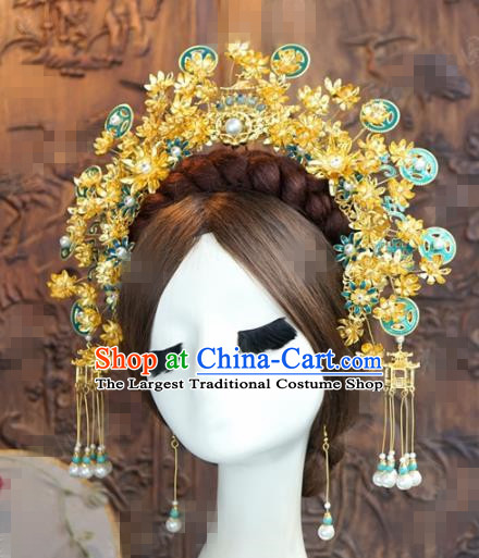 Chinese Ancient Queen Phoenix Coronet Wedding Bride Hairpins Headdress for Women