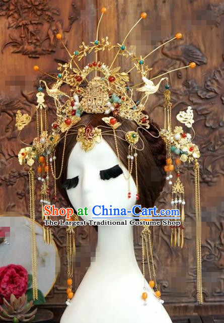 Chinese Ancient Queen Cranes Phoenix Coronet Wedding Bride Hairpins Headdress for Women