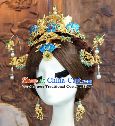 Chinese Ancient Queen Blueing Phoenix Coronet Wedding Bride Hairpins Headdress for Women