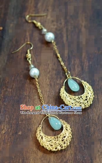 Chinese Traditional Wedding Hanfu Tassel Earrings Ancient Bride Palace Jewelry Accessories for Women