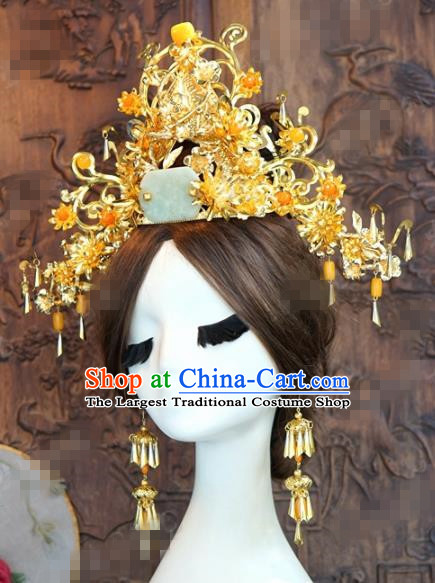 Chinese Ancient Queen Golden Jade Phoenix Coronet Wedding Bride Hairpins Headdress for Women