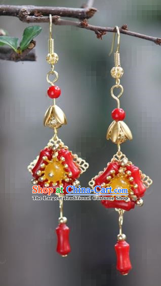 Chinese Traditional Wedding Hanfu Red Earrings Ancient Bride Palace Jewelry Accessories for Women