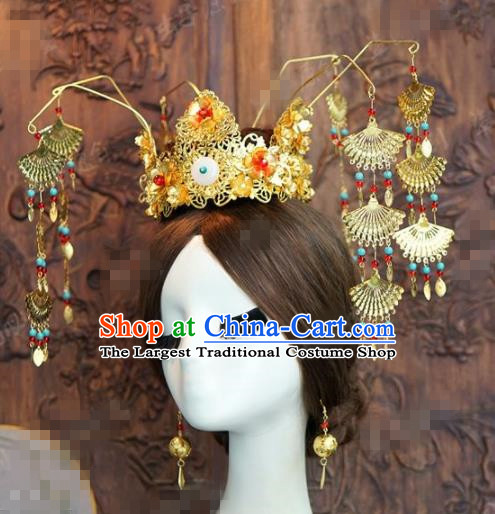 Chinese Ancient Queen Phoenix Coronet Wedding Bride Headdress Hairpins for Women