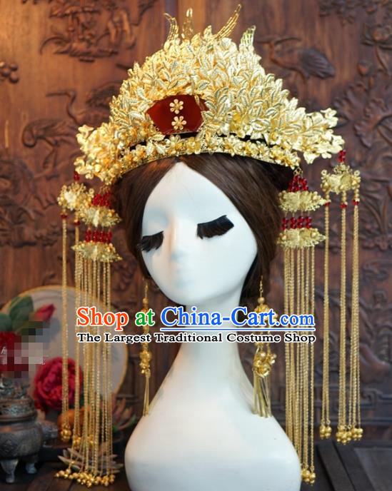 Chinese Ancient Queen Golden Luxurious Phoenix Coronet Wedding Bride Headdress Hairpins for Women