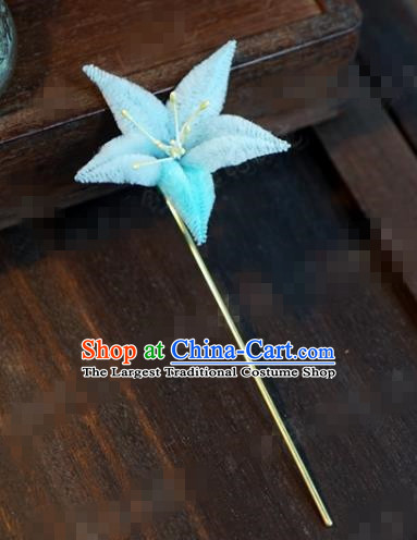 Chinese Ancient Queen Hair Clip Wedding Bride Headdress Blue Velvet Flower Hairpins for Women