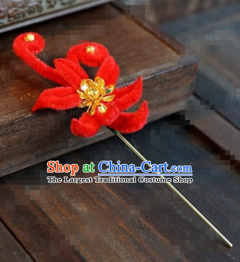 Chinese Ancient Queen Red Velvet Flower Hair Clip Wedding Bride Headdress Hairpins for Women