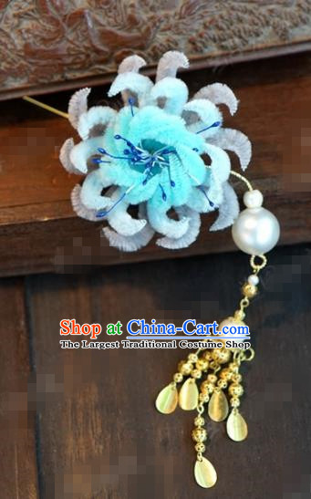 Chinese Ancient Queen Blue Velvet Chrysanthemum Hair Clip Wedding Bride Headdress Hairpins for Women