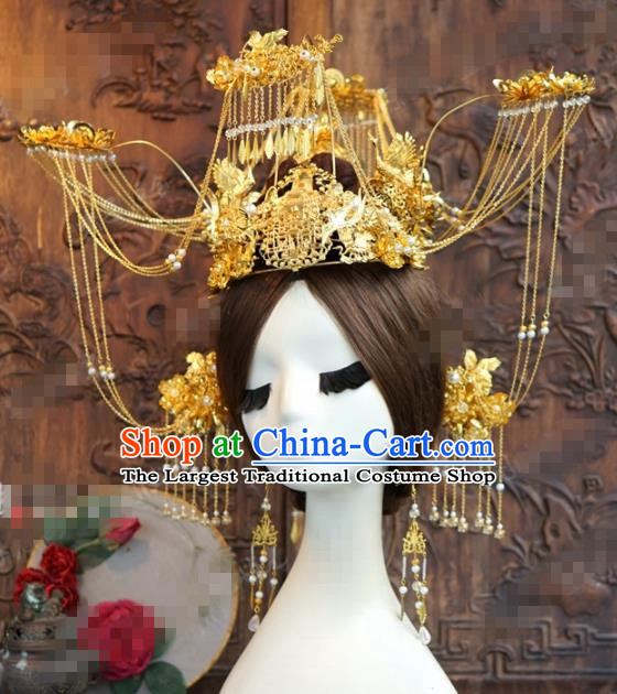 Chinese Ancient Bride Hair Accessories Wedding Golden Tassel Phoenix Coronet Hairpins for Women