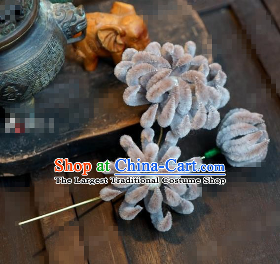 Chinese Ancient Qing Dynasty Empress Hair Clip Palace Grey Chrysanthemum Hairpins for Women