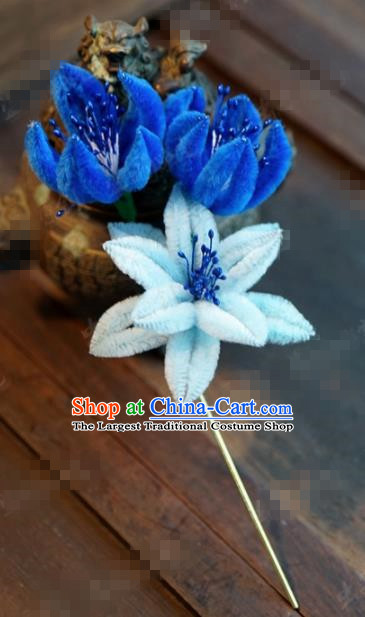 Chinese Ancient Empress Blue Flowers Hair Clip Palace Hairpins for Women