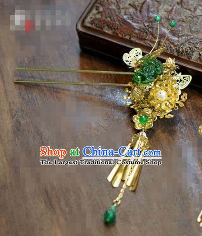 Chinese Ancient Bride Hair Accessories Wedding Tassel Butterfly Hairpins for Women