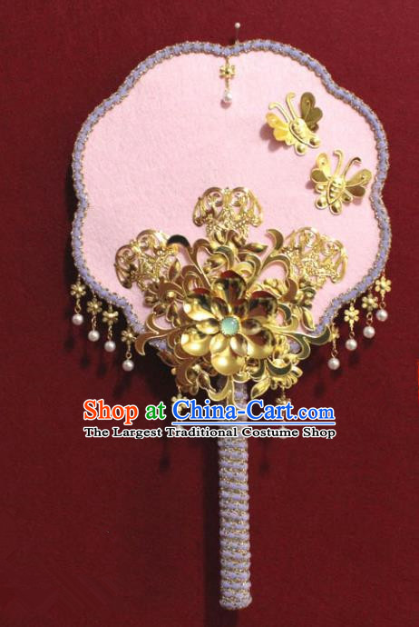 Chinese Traditional Pink Palace Fans Ancient Wedding Jewelry Accessories for Women