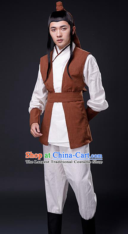 Chinese Ancient Song Dynasty Drama Swordsman Knight Costumes for Men