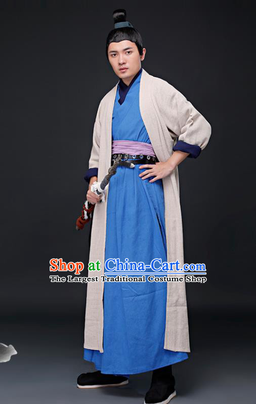 Chinese Ancient Ming Dynasty Swordsman Costumes Drama Knight Hanfu Clothing for Men