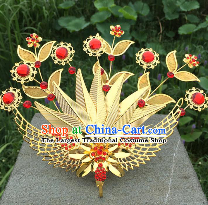 Chinese Ancient Tang Dynasty Hair Accessories Queen Golden Phoenix Hairpins for Women