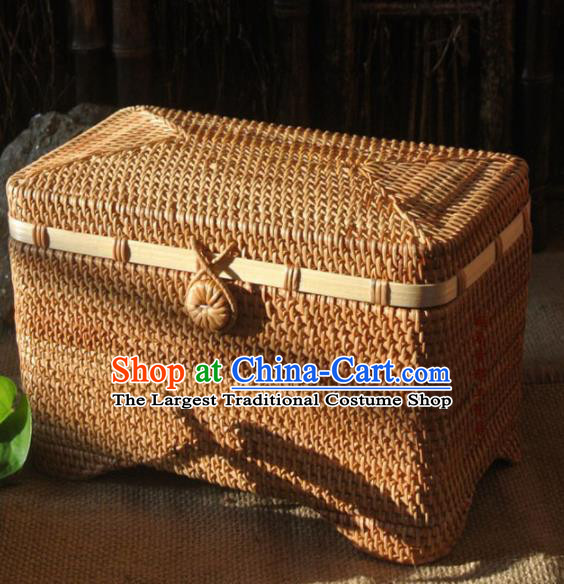Asian Vietnamese Traditional Craft Rattan Box Straw Plaited Storage Box