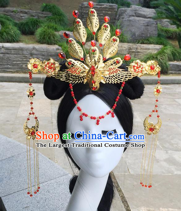 Chinese Ancient Tang Dynasty Hair Accessories Golden Phoenix Coronet Tassel Hairpins for Women