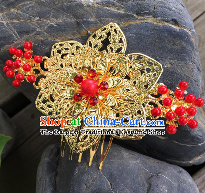Chinese Ancient Tang Dynasty Hair Accessories Golden Hair Comb Hairpins for Women