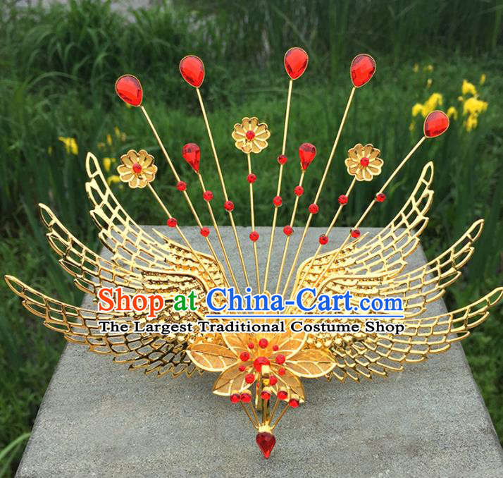 Chinese Ancient Tang Dynasty Queen Hair Accessories Golden Phoenix Hairpins for Women