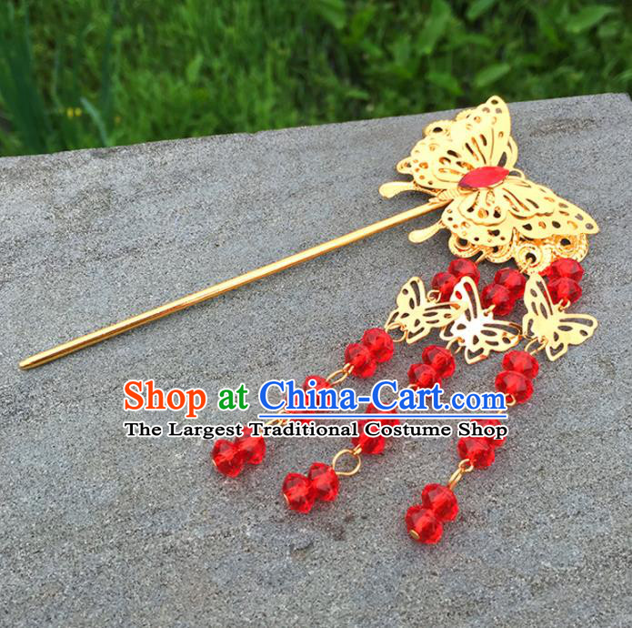Chinese Ancient Tang Dynasty Queen Hair Accessories Golden Butterfly Tassel Hairpins for Women