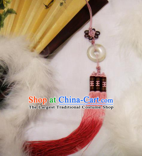 Chinese Traditional Classical Waist Accessories Ancient Princess Red Tassel Jade Pendant for Women