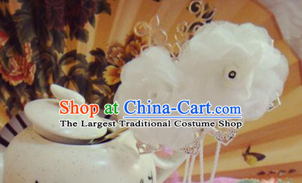 Chinese Traditional Classical Hair Accessories Ancient Princess White Flowers Hairpins for Women