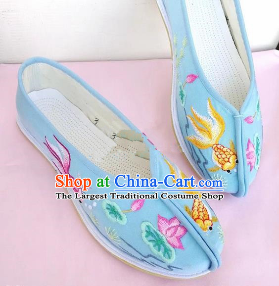 Chinese Traditional Hanfu Shoes Embroidered Lotus Blue Shoes Handmade Cloth Shoes for Women