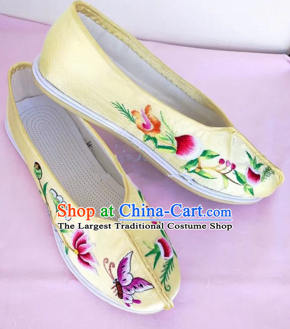 Chinese Traditional Hanfu Shoes Yellow Embroidered Shoes Handmade Cloth Shoes for Women