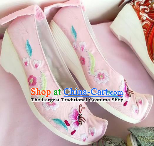 Chinese Traditional Hanfu Pink Shoes Embroidered Shoes Handmade Cloth Shoes for Women