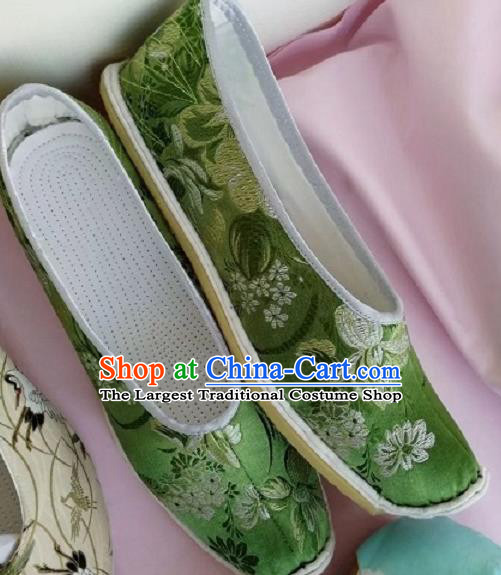Chinese Traditional Hanfu Shoes Embroidered Shoes Handmade Green Satin Shoes for Women