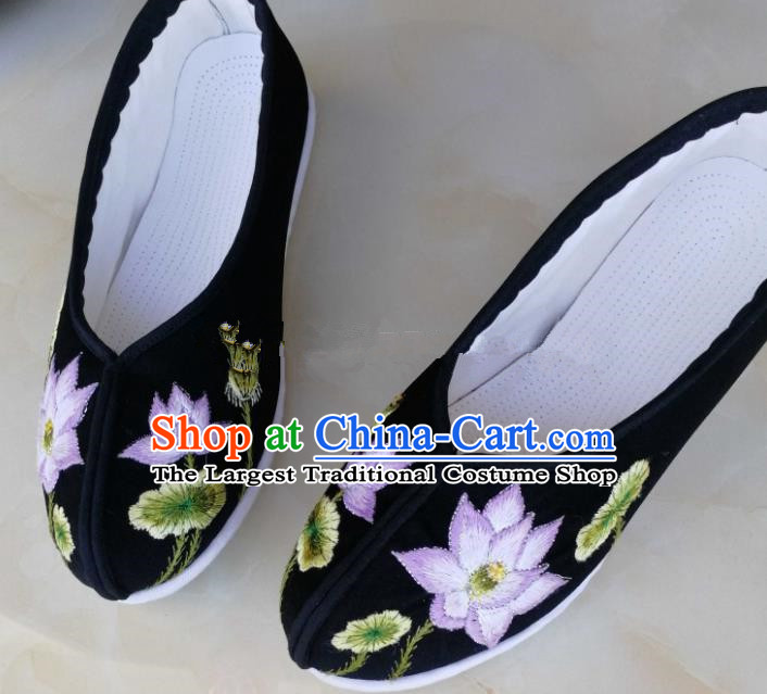 Chinese Traditional Hanfu Shoes Embroidered Lotus Shoes Handmade Cloth Shoes for Women