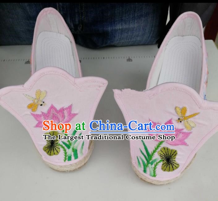 Chinese Traditional Hanfu Pink Shoes Embroidered Lotus Shoes Handmade Cloth Shoes for Women