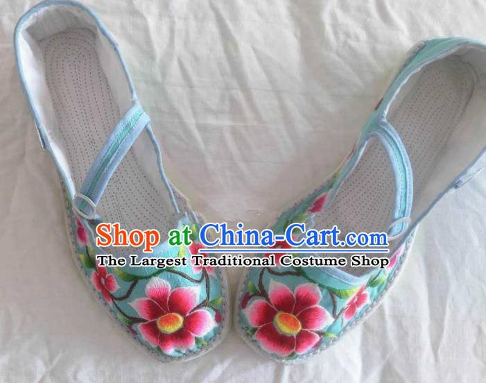 Chinese Traditional Hanfu Shoes Embroidered Blue Shoes Handmade Cloth Shoes for Women
