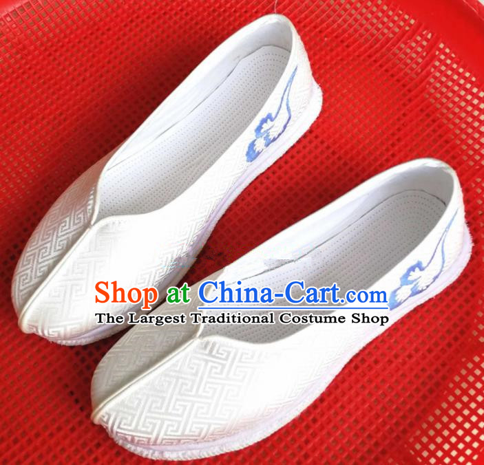 Chinese Traditional Hanfu White Satin Shoes Embroidered Shoes Handmade Shoes for Women