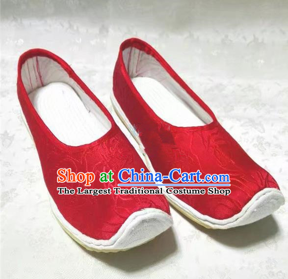 Chinese Traditional Hanfu Shoes Red Satin Shoes Handmade Cloth Shoes for Women