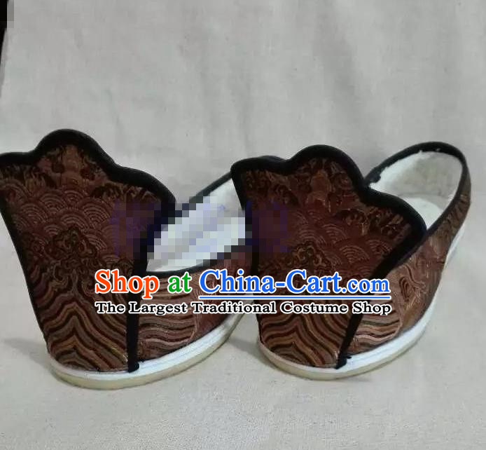 Chinese Traditional Hanfu Shoes Ancient Princess Brown Embroidered Shoes Handmade Shoes for Women