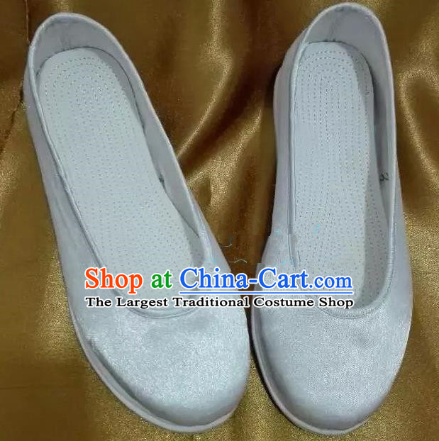 Chinese Traditional Hanfu Shoes Ancient Princess White Satin Shoes Handmade Shoes for Women