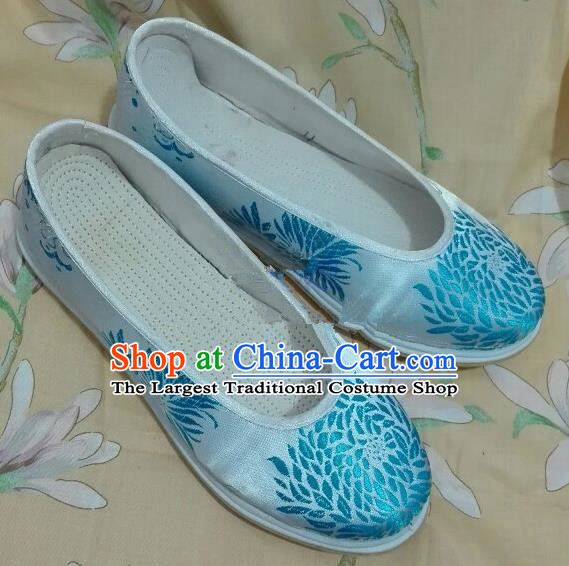 Chinese Traditional Hanfu Shoes Ancient Princess White Silk Shoes Handmade Shoes for Women