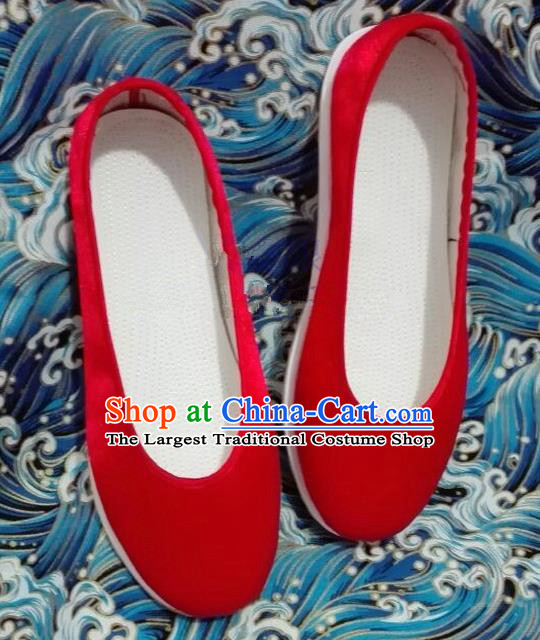 Chinese Traditional Hanfu Shoes Ancient Princess Shoes Handmade Red Cloth Shoes for Women