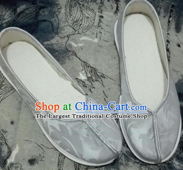 Chinese Traditional Hanfu Shoes Ancient Grey Cloth Shoes Handmade Monk Shoes for Men