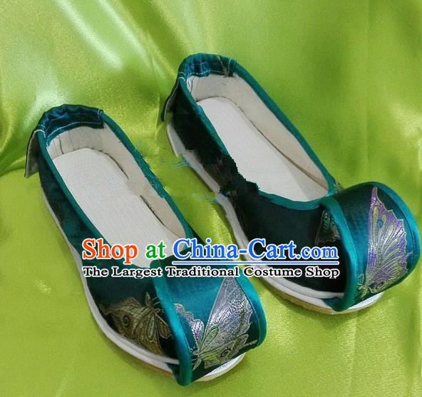 Chinese Traditional Hanfu Shoes Ancient Princess Green Embroidered Shoes Handmade Shoes for Women