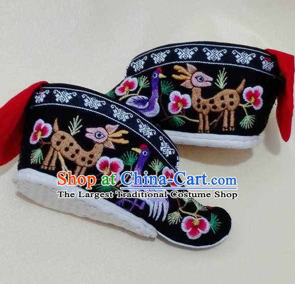 Chinese Traditional Hanfu Shoes Ancient Qing Dynasty Black Embroidered Shoes Handmade Shoes for Women