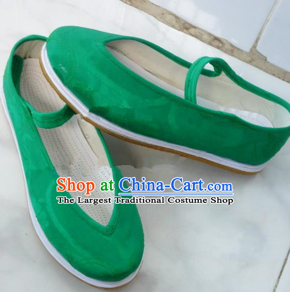 Chinese Traditional Hanfu Shoes Ancient Green Satin Embroidered Shoes Handmade Shoes for Women