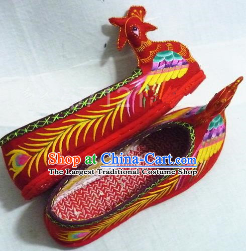 Chinese Traditional Hanfu Shoes Ancient Princess Red Phoenix Embroidered Shoes Handmade Shoes for Women